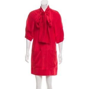 Stella McCartney Red Silk Tie Neck Tunic Dress